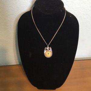 Owl clock necklace